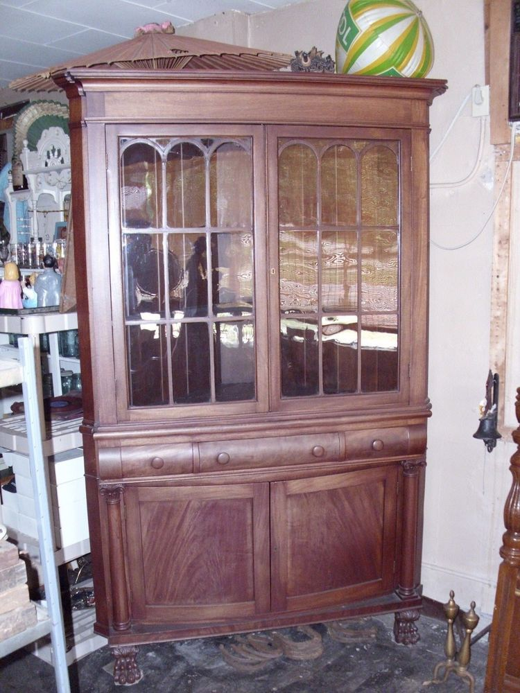 antique china cabinets 1800\'s ANTIQUE WALNUT GLASS DOOR CORNER CUPBOARD 1800