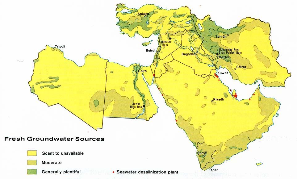 Map of fresh groundwater sources in the Middle East Middle East - fresh yemen in world map