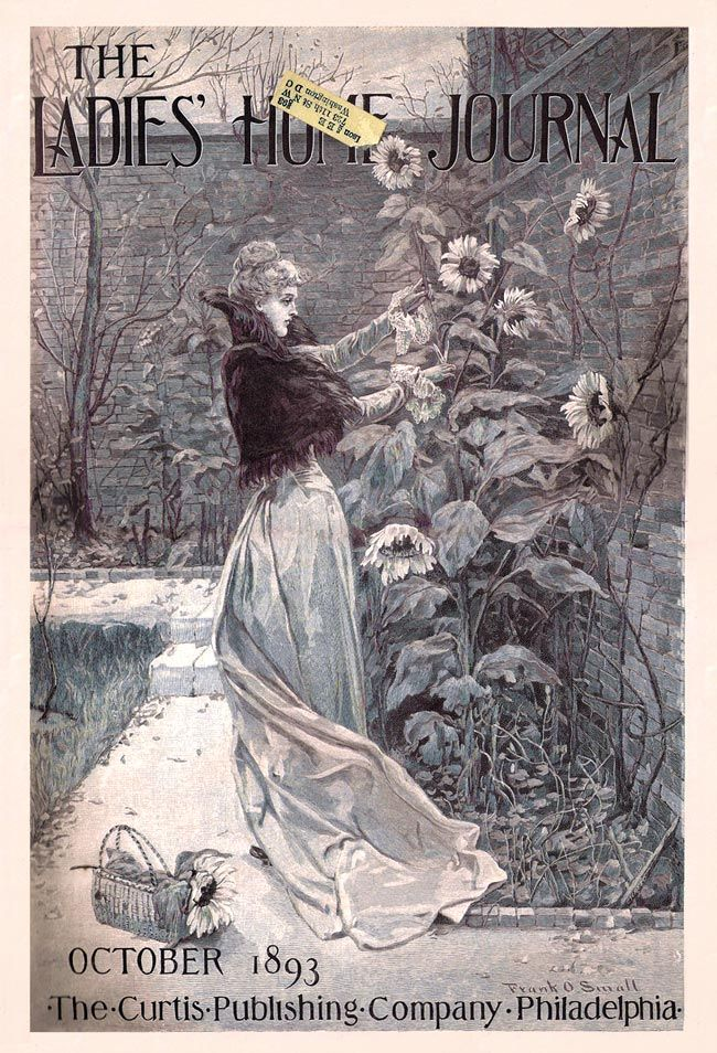 Gilded Age leisure c. 1893 picking the sunflowers