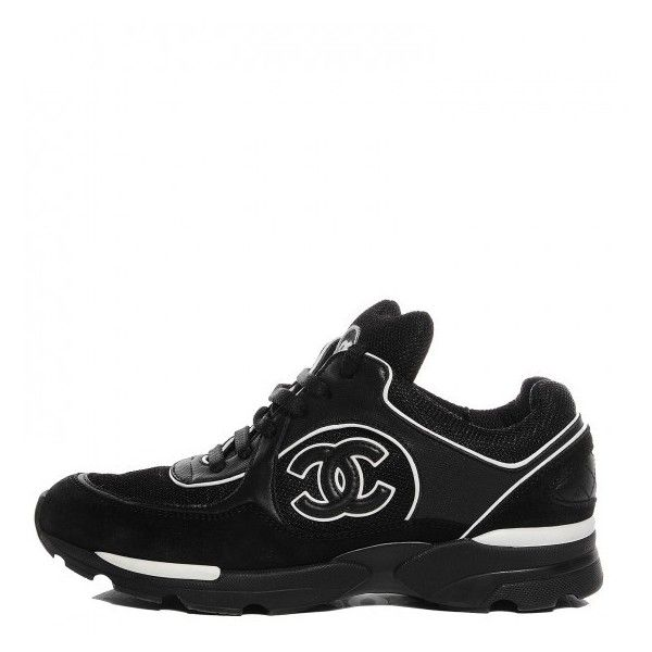 CHANEL Suede Calfskin CC Sneakers Black