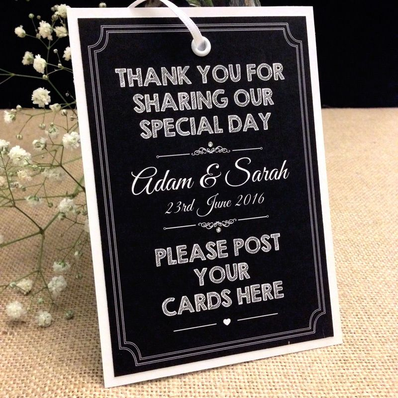 personalised chalkboard style vintage wedding post box tag card Wedding Card Post Box Sign personalised chalkboard style vintage wedding post box tag card sign in home, furniture & diy wedding card post box sign