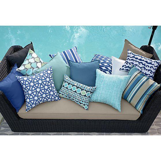 Sunbrella Mediterranean Blue 20 Sq Outdoor Pillow Blue Outdoor Pillows Patio Pillows Outdoor Pillows