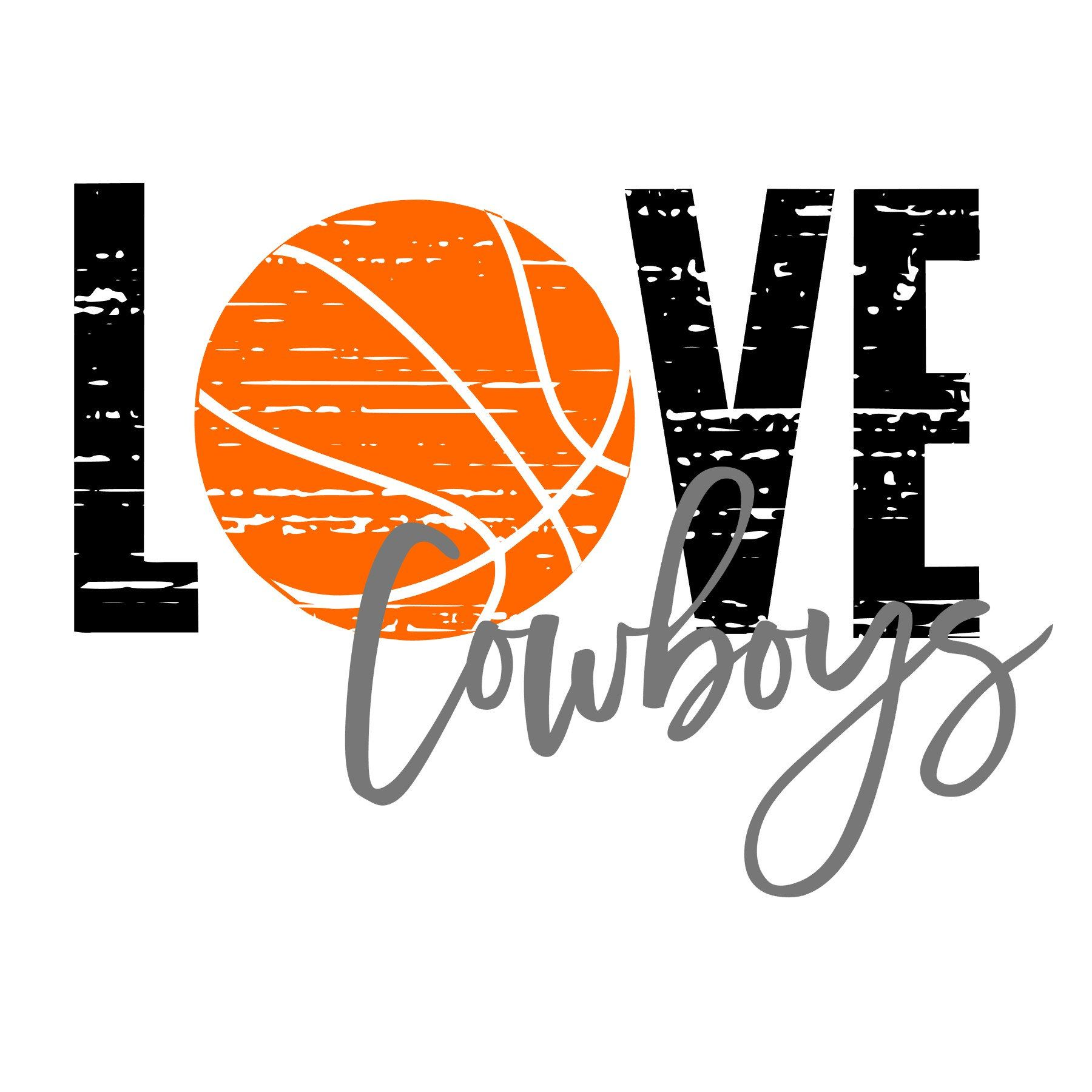 Download Love Cowboys Basketball Distressed SVG | Distressed ...