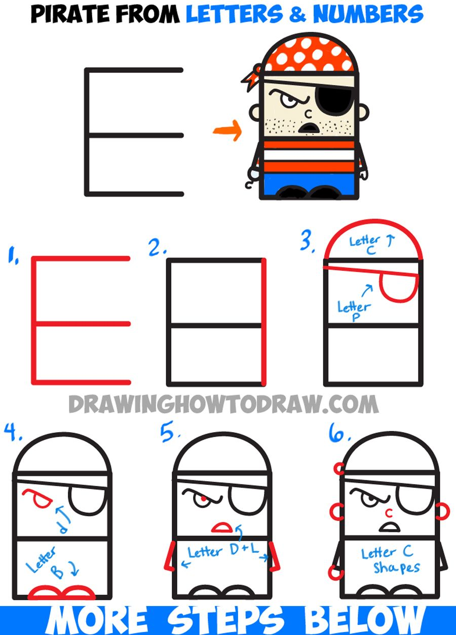 How To Draw Cartoon Pirate From Letters And Numbers  Easy