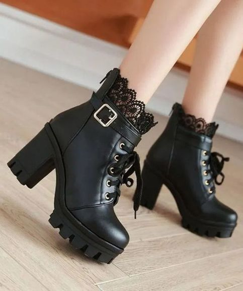 Ankle Boots Shoes Super Heeled Chunky Heel Lace Up Martin Boots F6852 from Eoooh