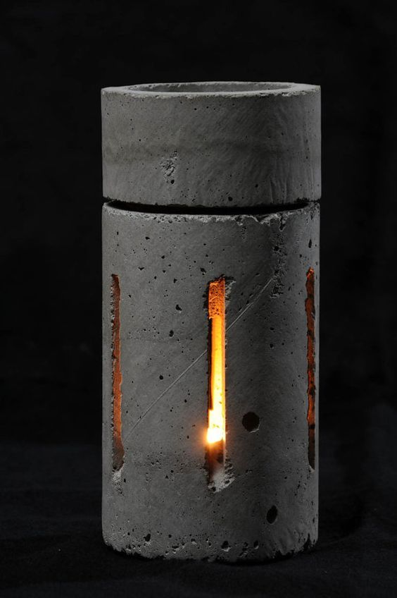 Cement Candle Holder Fragrance Crystal Heater 1 Betonlampe