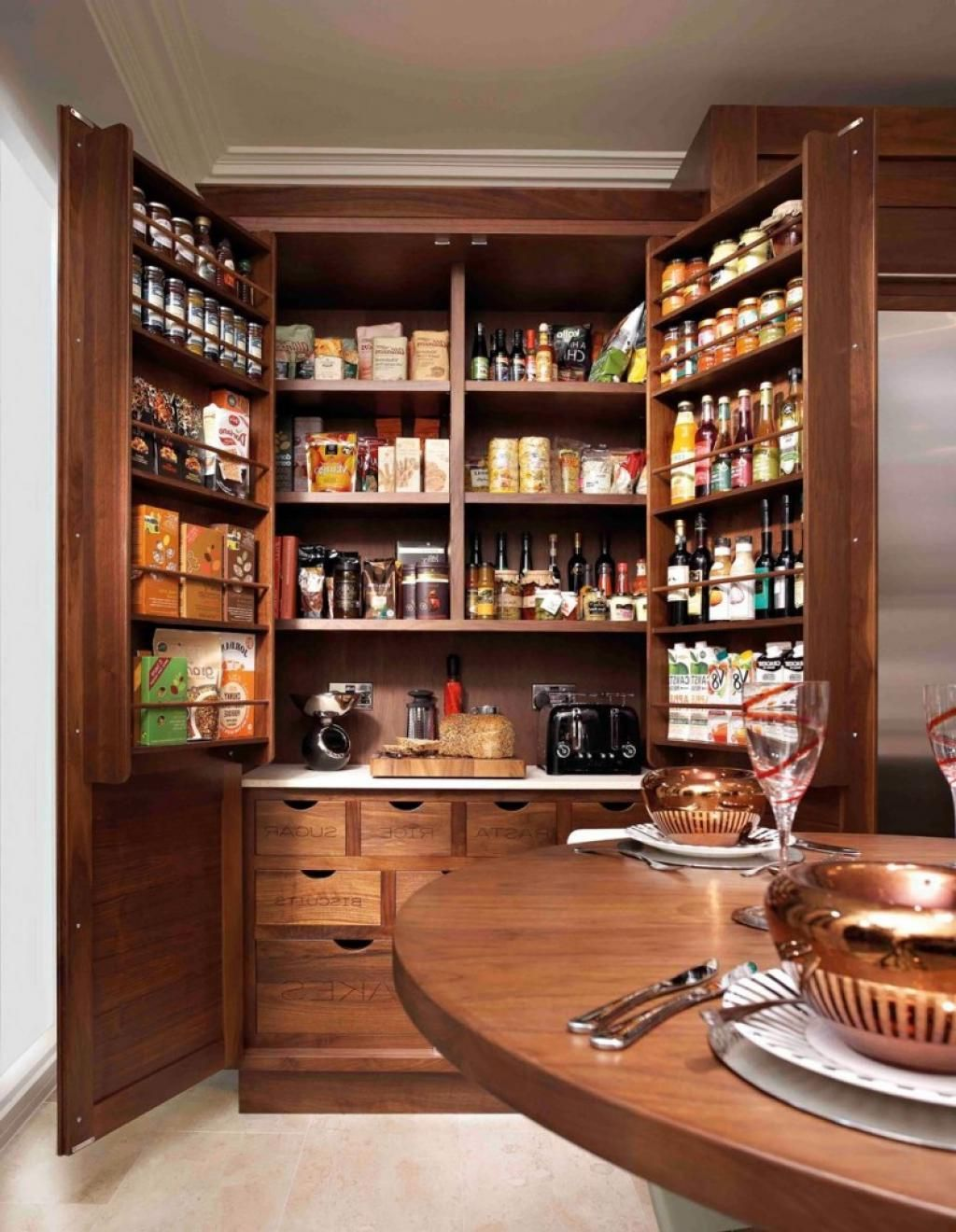 Splendid Kitchen Pantry Cabinets Wood Large Design Ideas Withh So ...