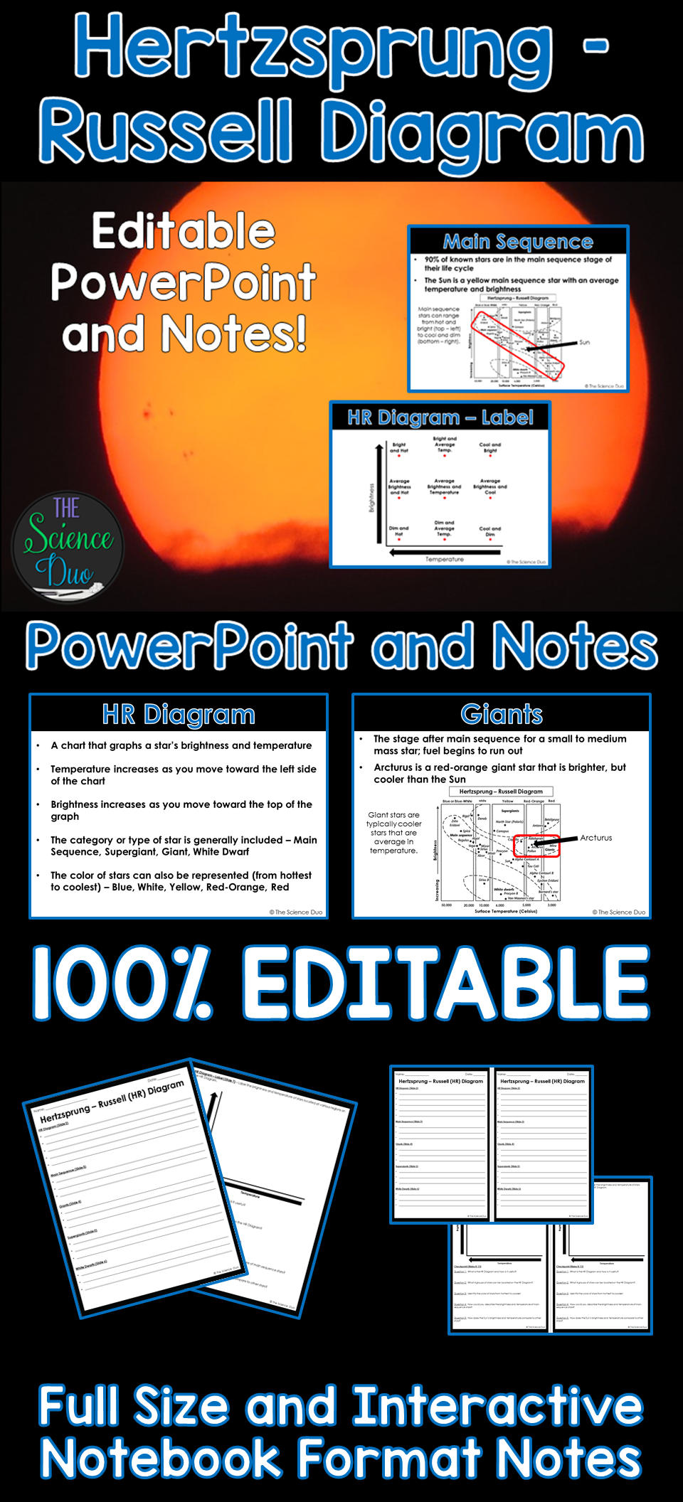 introduce or help your students review the hertzsprung russell hr diagram with this powerpoint presentation and student notes pages  [ 960 x 2112 Pixel ]