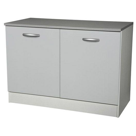 Meuble De Cuisine Bas 2 Portes Gris Aluminium H86 X L120 X P60 Cm Kitchen Remodel Home Remodeling Home Decor