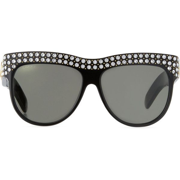 91a4f4d08 Gucci Swarovski Crystal Square Logo Sunglasses ($965) ❤ liked on Polyvore  featuring accessories, eyewear, sunglasses, gucci sunglasses, swarovski  crystal ...
