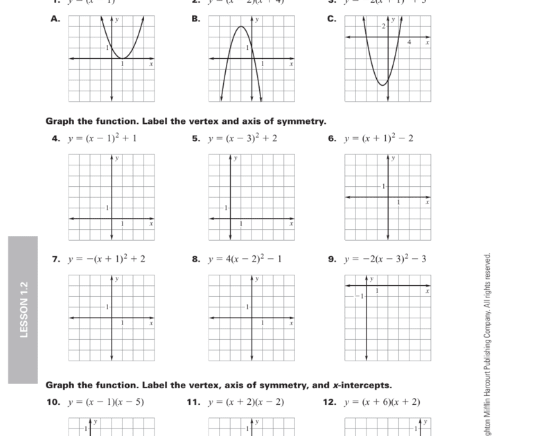 Practice 1 2 Graphing In Vertex Form And Intercept Form Algebra 2 4 1 Graph Quadratic Functions In Standard Graphing Quadratics Quadratics Algebra Worksheets