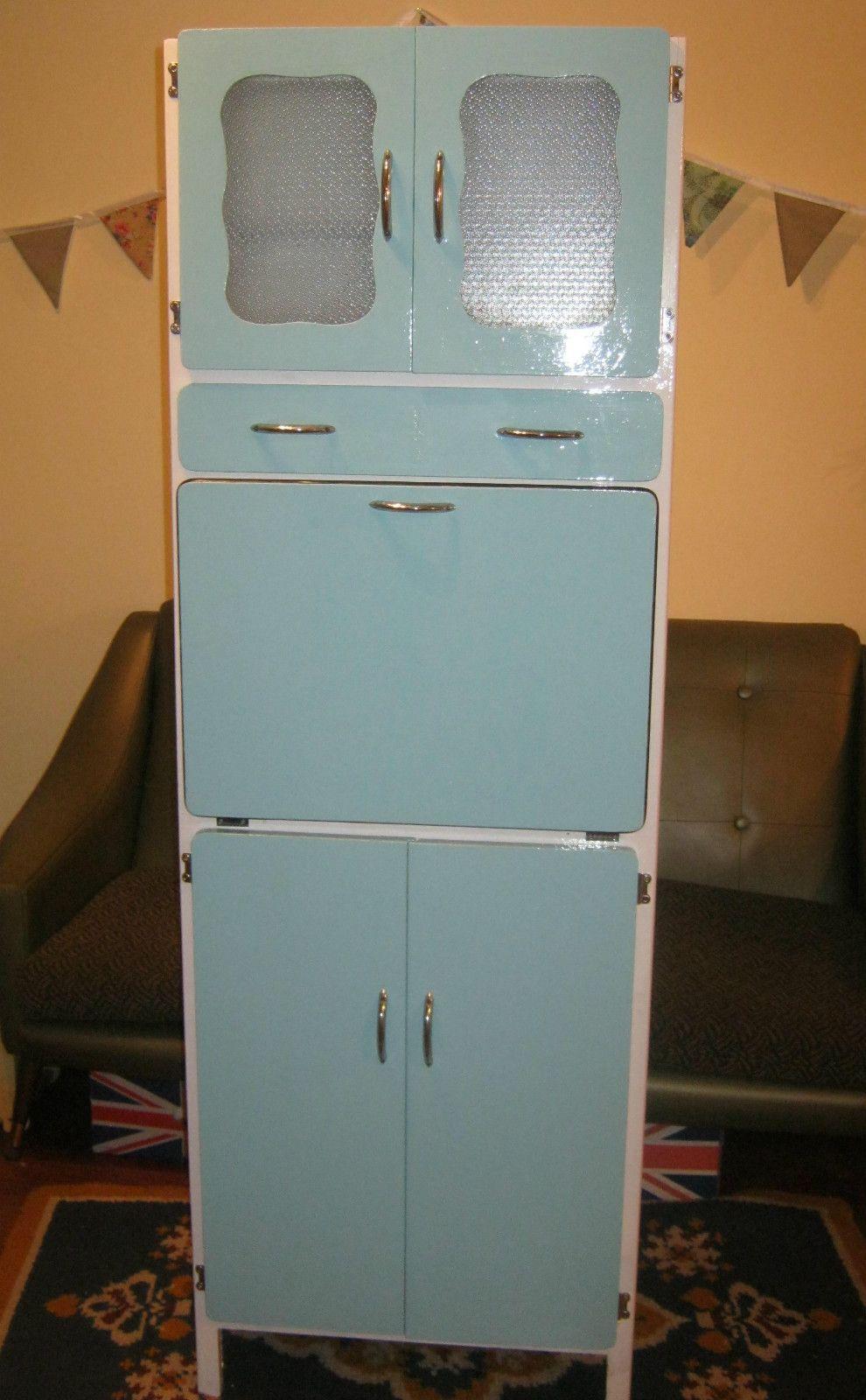 Retro 50s Kitchen Cabinet Vintage Larder Cupboard Pantry 60s Dresser Blue Ebay 50s Kitchen Kitchen Dresser Vintage Kitchen Cabinets