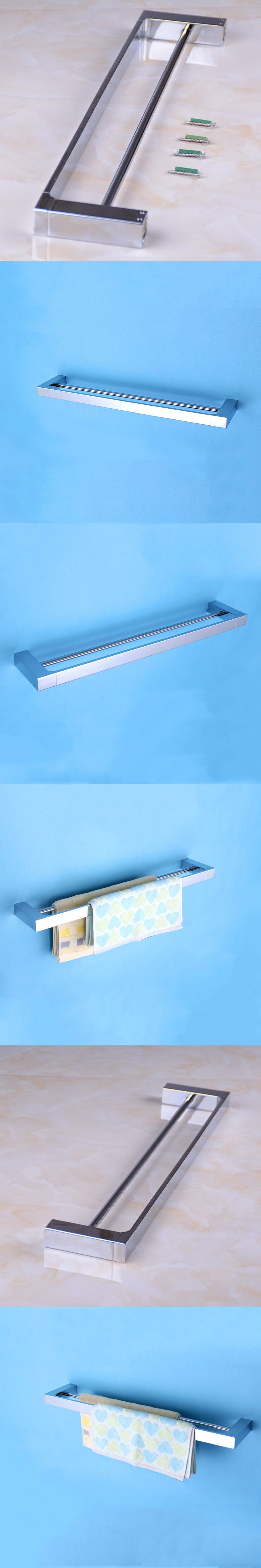 Bathroom Chrome Double Towel Shelves Antique Brass Wall Mounted ...