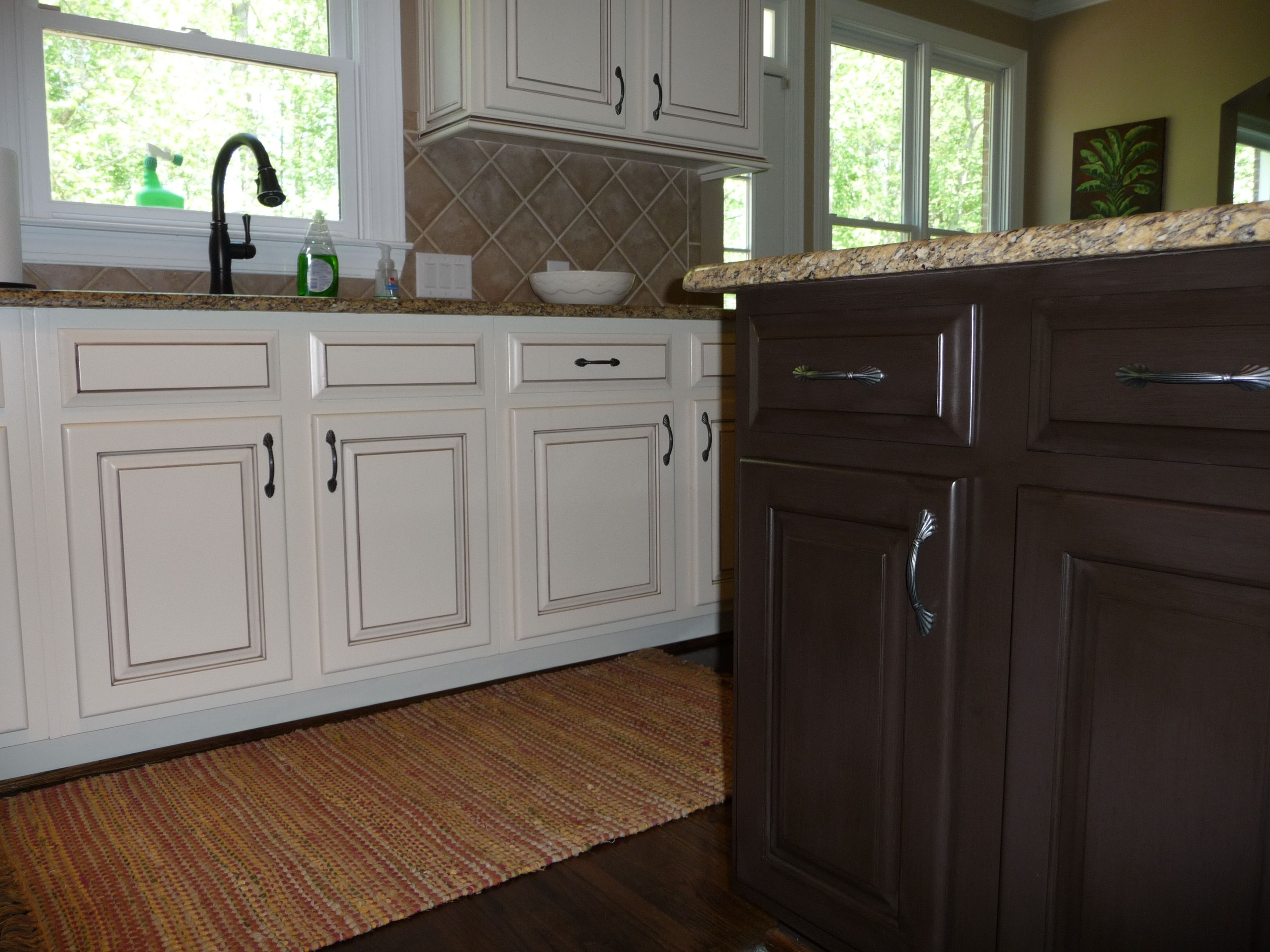 My Dream Kitchen At Last Painted Maple Cabinets Antique White Almond Added Light Rail At The Bottom And Rope Crown Kitchen Cabinets Kitchen Maple Cabinets