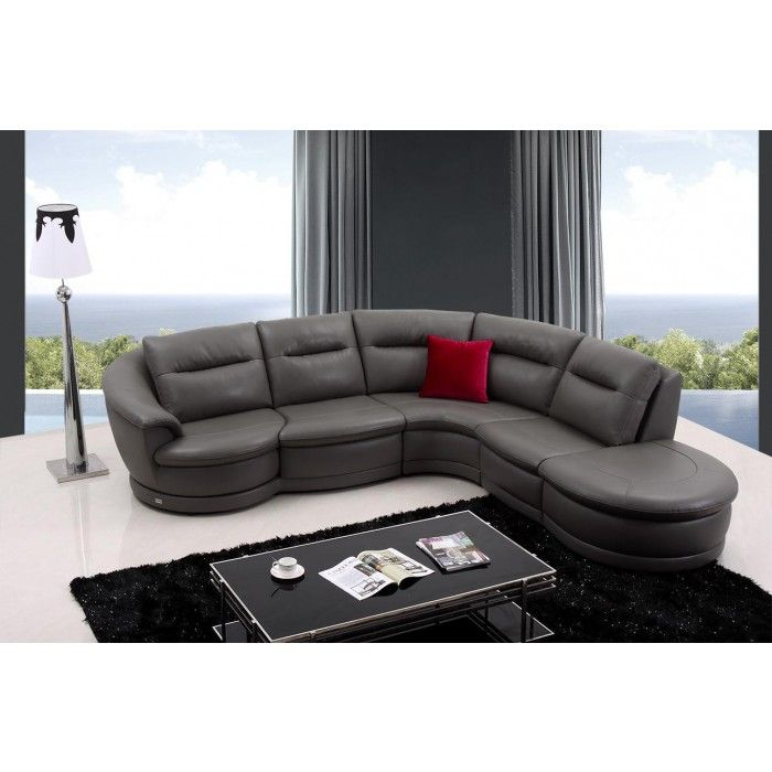 Divani Casa Bedrock Modern Dark Grey Eco-Leather Sectional Sofa - divanidivani luxurioses sofa design