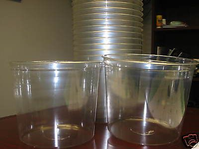 25 Plastic Disposable Ice Buckets Plastic 80oz Tubs