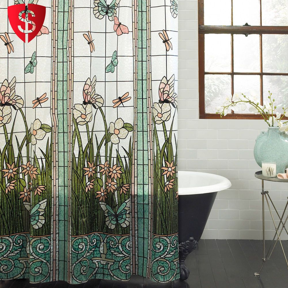 Bathroom Shower Curtain Hooks Stained Glass Meadow Dragonfly