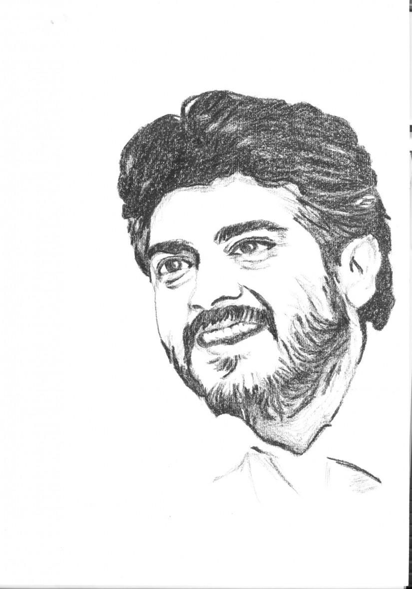 Ajith indian actor quick sketch sketching by vijay singaram at touchtalent 40963