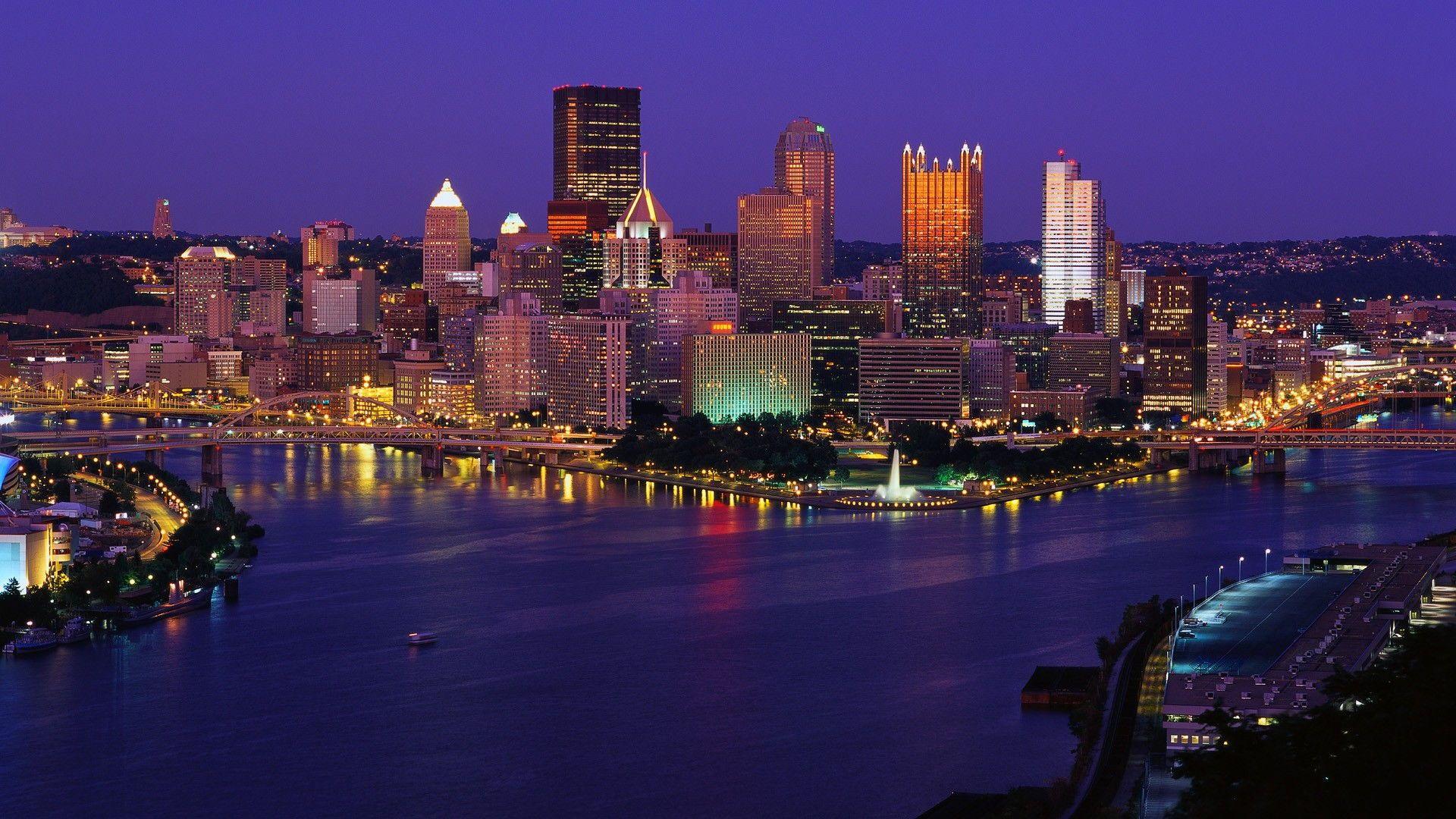 Pittsburgh Desktop Wallpaper Skyline: Pittsburgh Skyline At Night Wallpaper