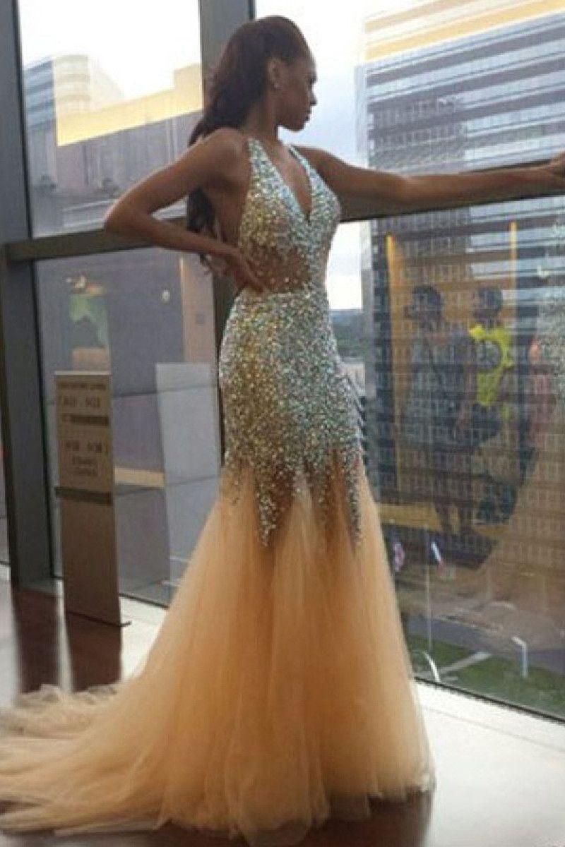 Wonderful Trumpet/Mermaid Zipper Natural Sleeveless Prom Dresses ...