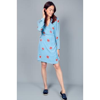 Maison Martin Morel Blue Peony Silk Kimono Dress - Trouva #bluepeonies