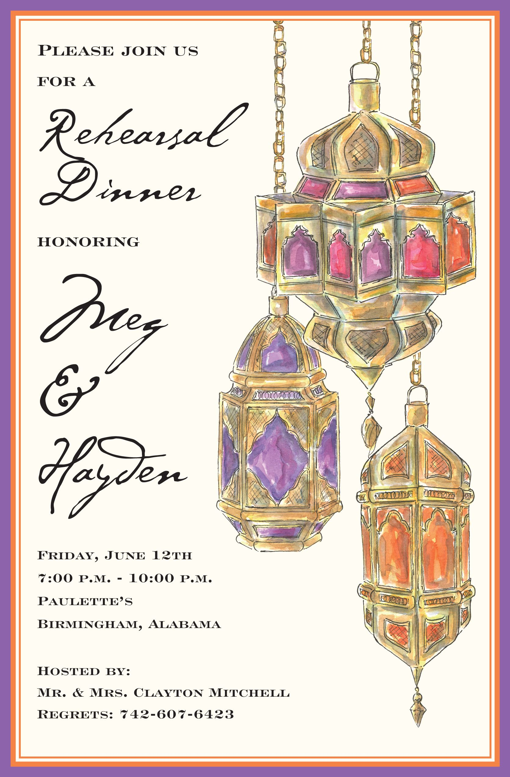Arabian Lights Invitation | Wedding dinner, Rehearsal dinner ...