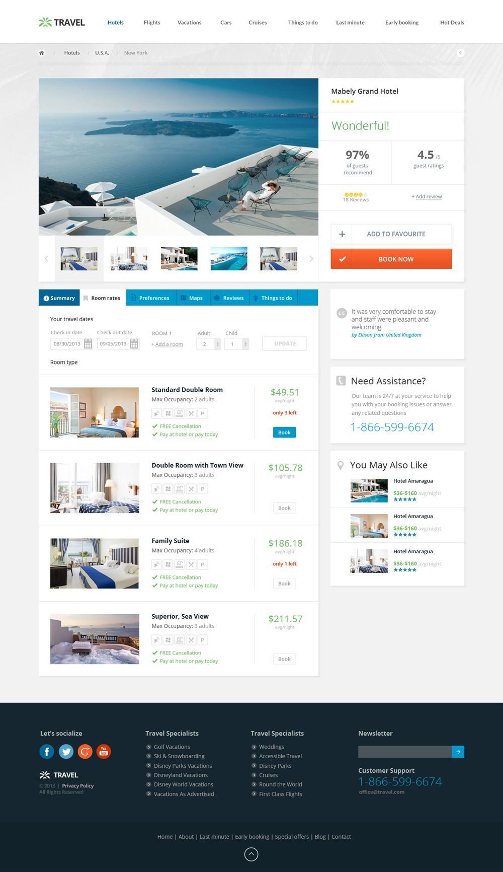 Travel Agency Responsive Hotel Online Booking Template on Behance ...