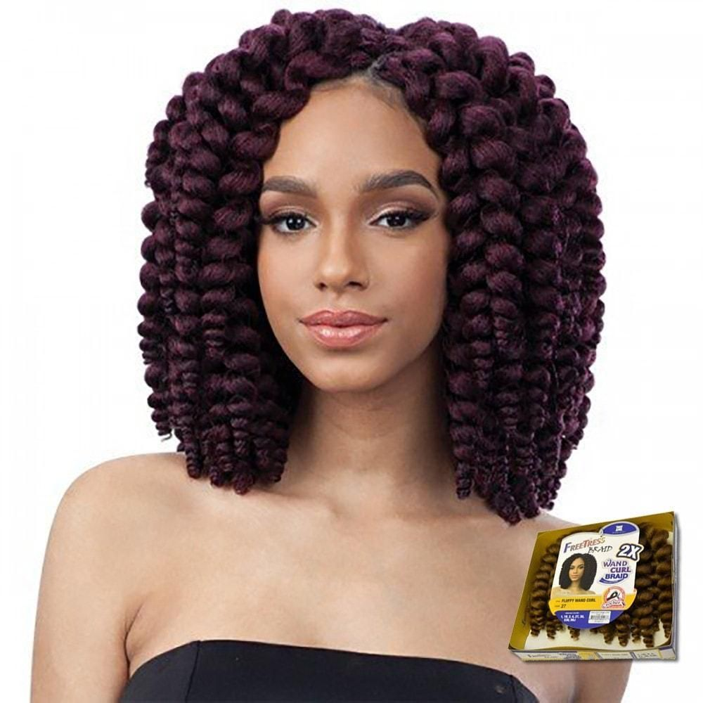 Freetress braid crochet hair wand curl braid collection fluffy