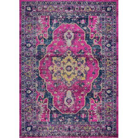 Ladole Rugs Timeless Collection Beverly Pink Purple Traditional Indoor Outdoor Polypropylene Doormat 1 10 Inch X 2 11 Inch 57cm X 90cm Size 1 10 Inch X 2 11 Inch 57cm X 90cm Rugs On