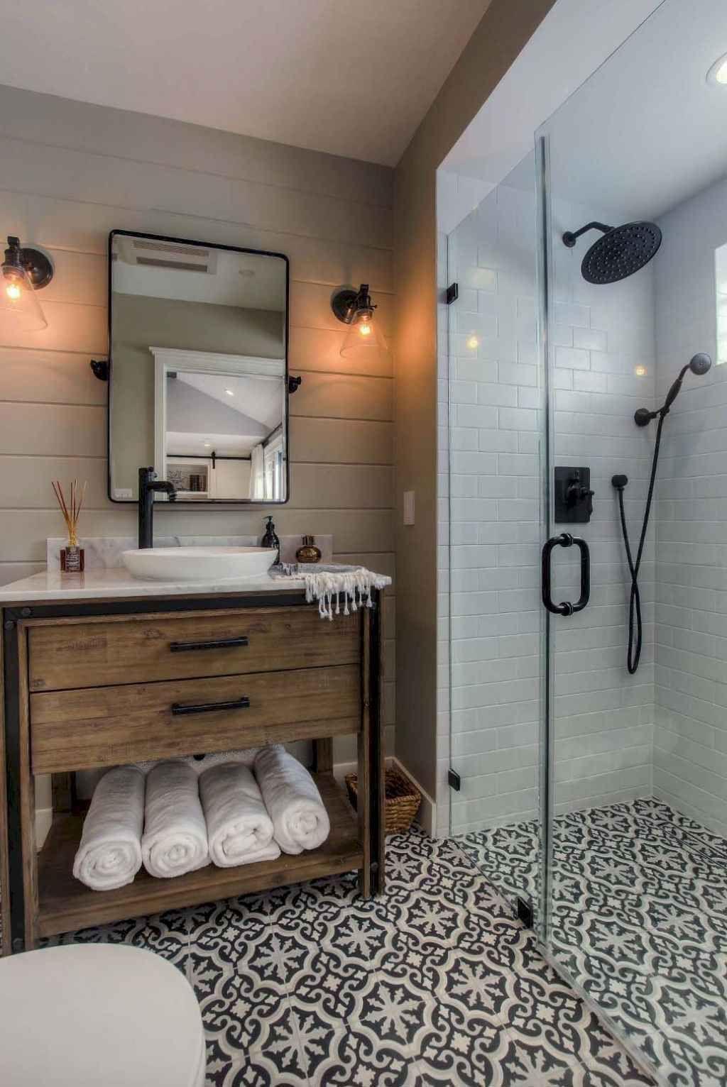 22 Stunning Farmhouse Bathroom Tiles Ideas Rustic Bathroom Designs Bathroom Remodel Master Small Bathroom Remodel