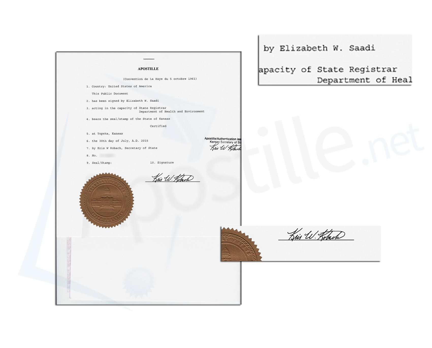 State Of Kansas Apostille Issued By Kris W Kobach Secretary Of State