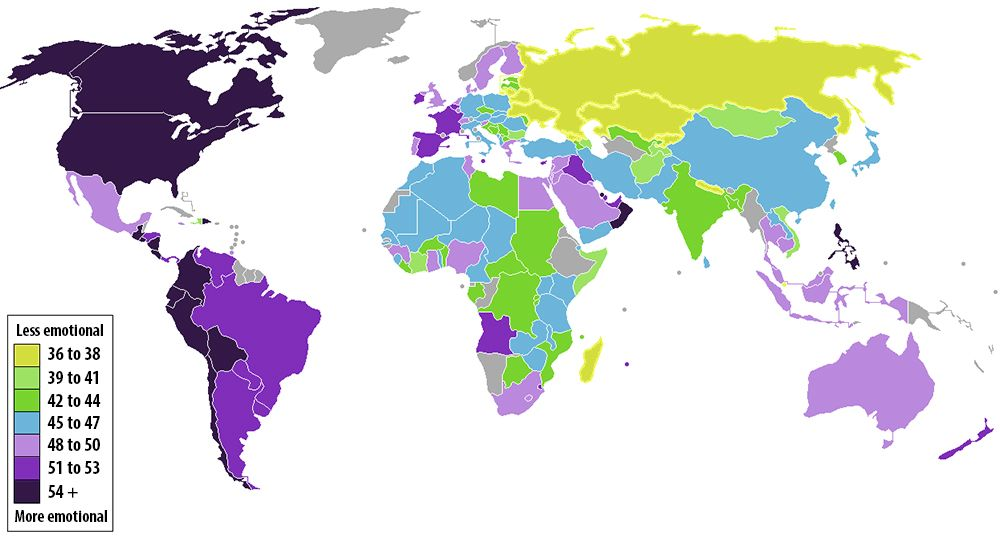 A color coded map of the worlds most and least emotional countries a color coded map of the worlds most and least emotional countries gumiabroncs Image collections