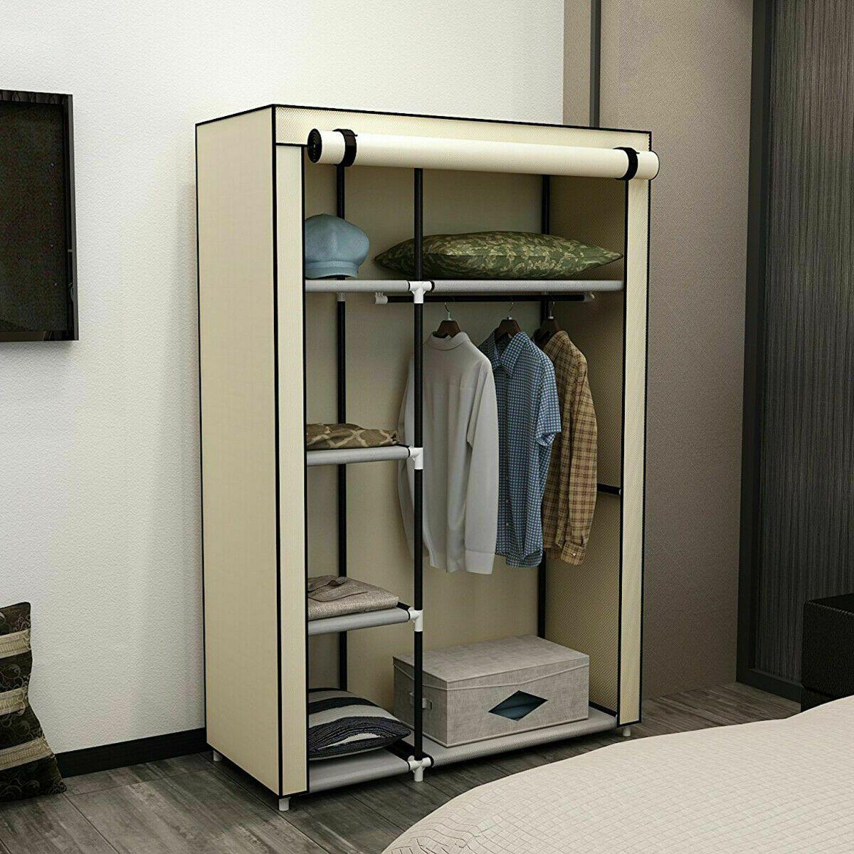 63 Portable Closet Storage Shelves Clothes Fabric Wardrobe
