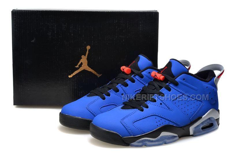 2015 Women Air Jordan 6 Low Blue Black Red Shoes
