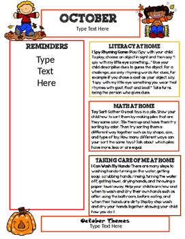 October Newsletter Template With Home Connections For Preschool October Newsletter Template Newsletter Templates Teacher Name