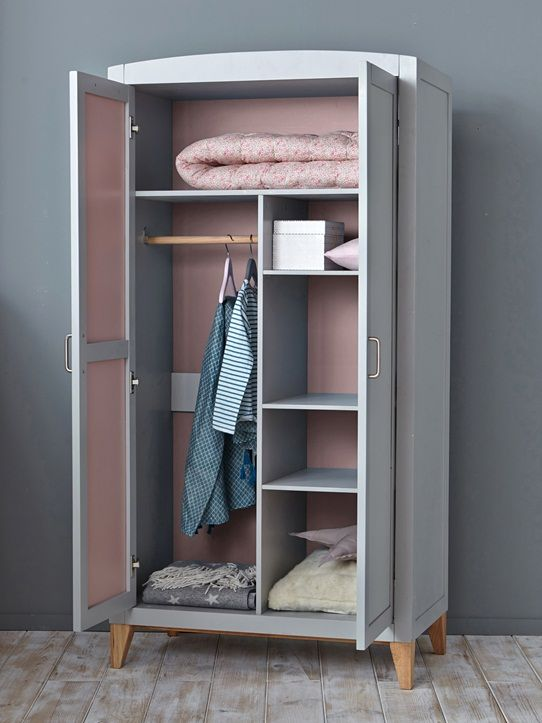 ARMOIRE BOIS GRIS/BLEU+GRIS/ROSE | great ideas