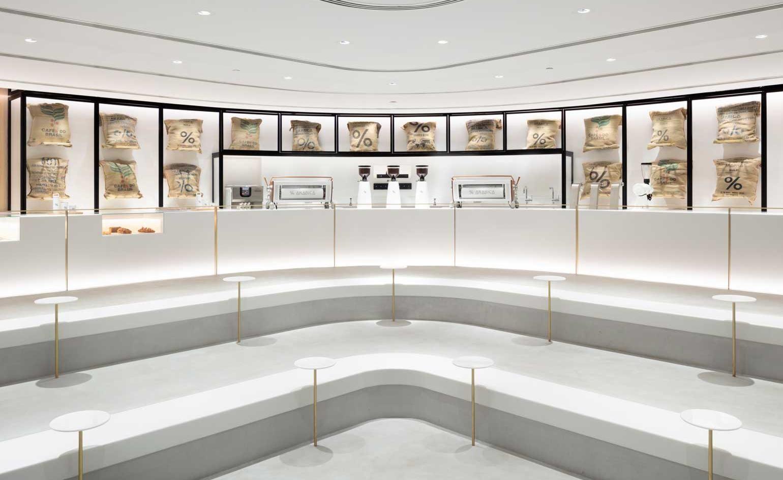 Nendo S New Kuwaiti Cafe Is A Theatre Of Coffee Nendo Design Arabica Coffee Design