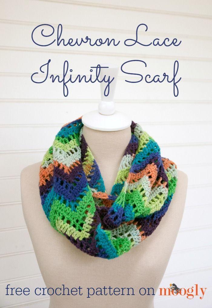 Chevron Lace Infinity Scarf - free #crochet pattern !   Bufandas ...