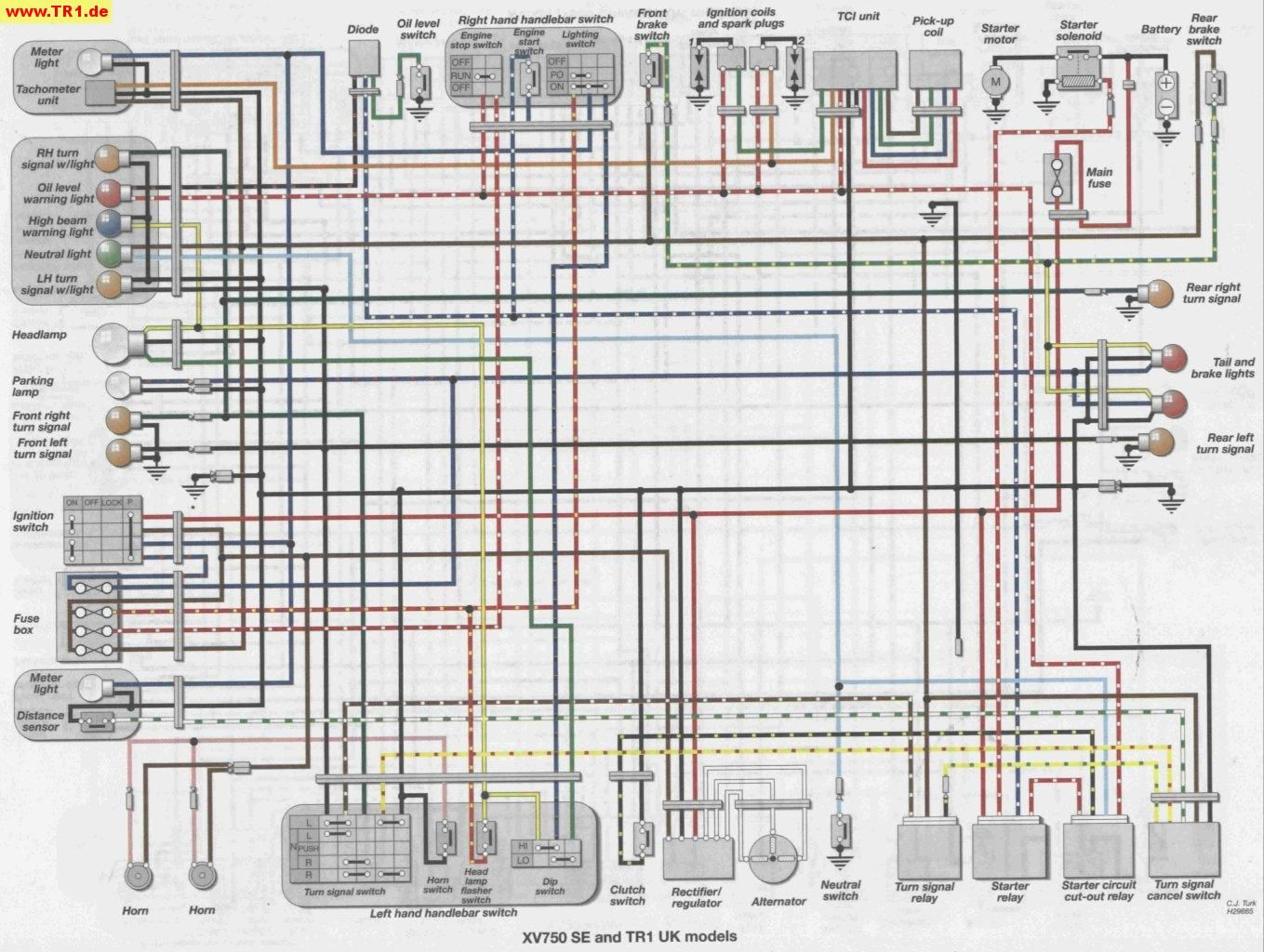 Tr1 Xv1000 Xv920 Wiring Diagrams Manfred S Tr1 Page All About Yamaha Tr1 Xv1000 Xv920 Yamaha Virago Electrical Diagram Diagram