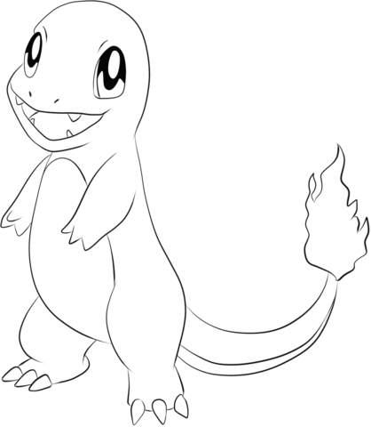 Charmander coloring page from Generation I Pokemon