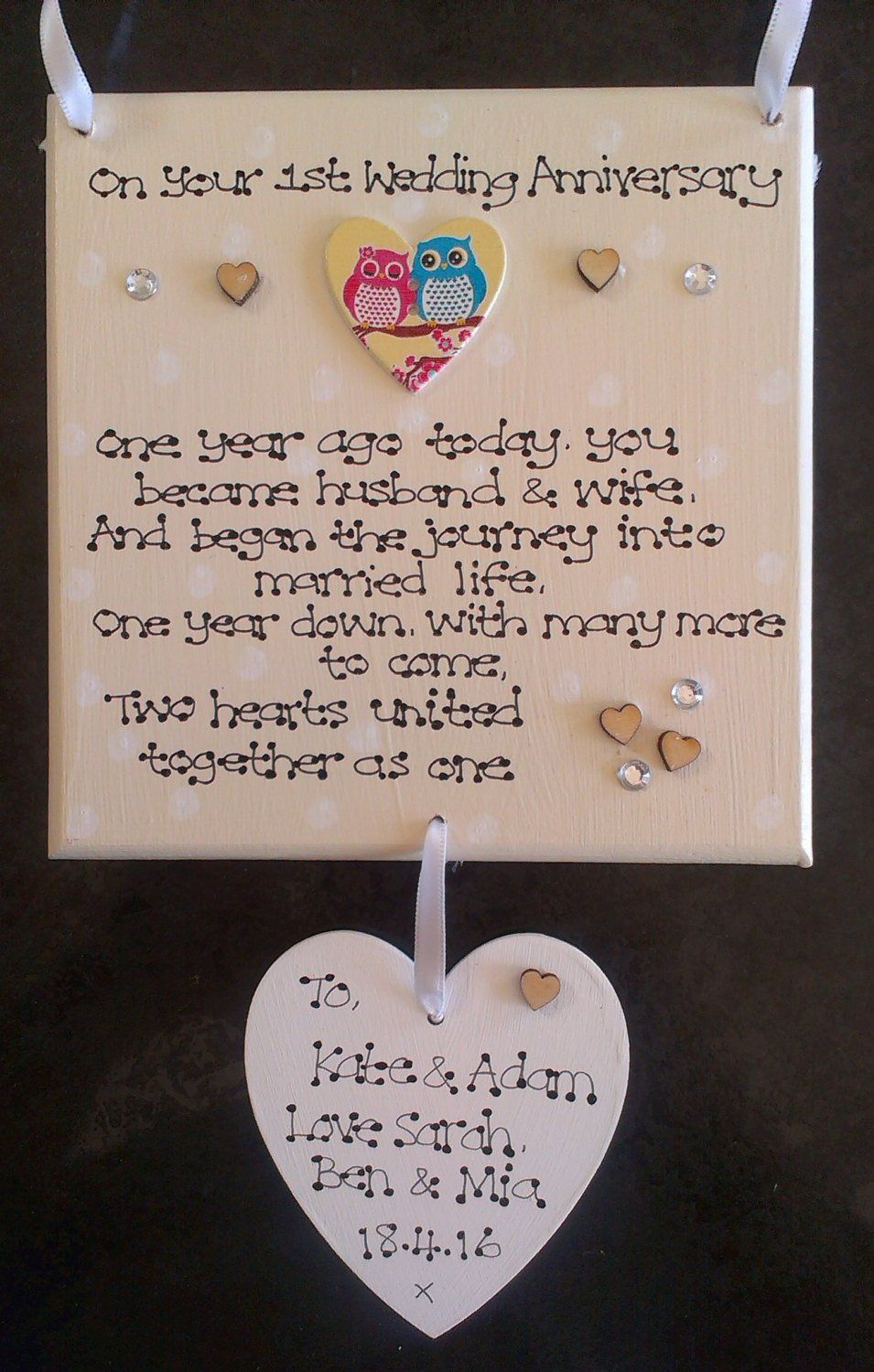 Personalised First Wedding Anniversary Gift Plaque 1st Anniversary Year Married Two Hearts Couple Gift Keepsake Love Cutom Sign First Wedding Anniversary Gift First Wedding Anniversary Wedding Anniversary Poems