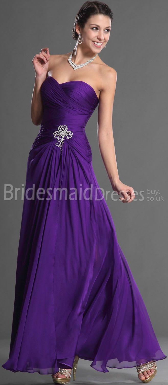 Perfecto Dama De Honor Larga Púrpura Viste Reino Unido Ideas ...