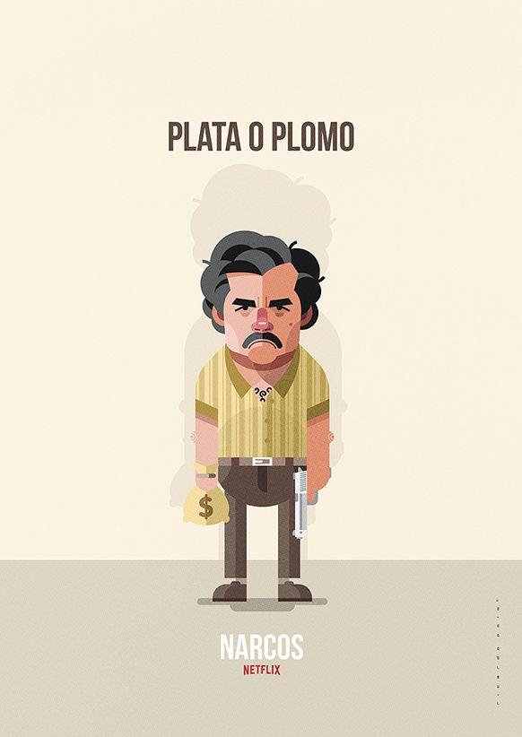 d795e27812 Ilustración del personaje de Pablo Escobar (interpretado por Wagner Moura)  en la serie de Netflix  Narcos .
