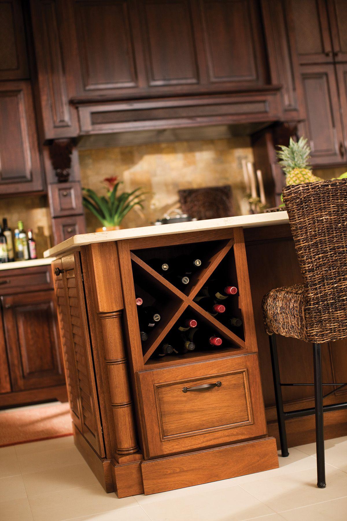 Storage Dura Supreme Cabinetry Tropical Kitchen Wine Rack Design Modern Wine Rack Kitchen islands with wine racks
