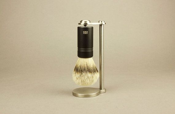 Magnetic Brush Stand & Brush with Anodized by ByronShavingCompany