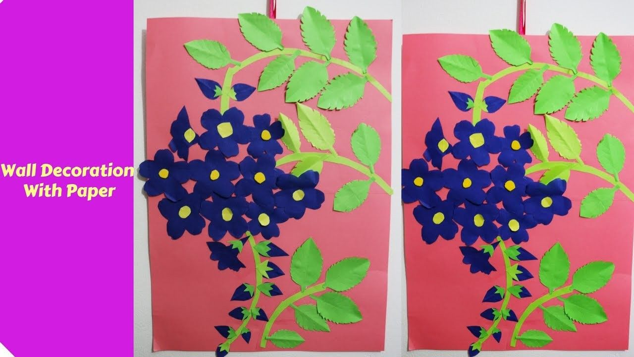 Wall Decoration With Paper Creative Ideas  Flower crafts Wall