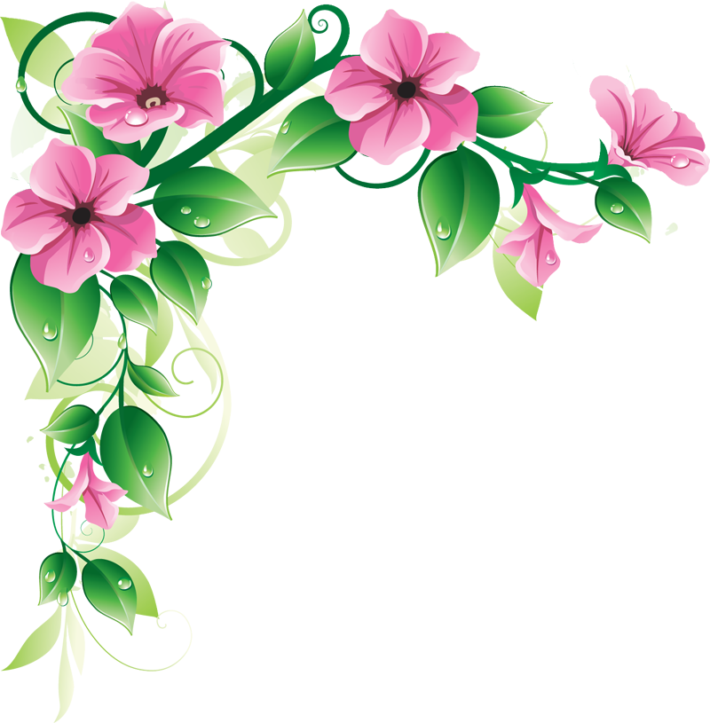 Free Flower Border Clip Art Pretty Pink Floral For The Top Of