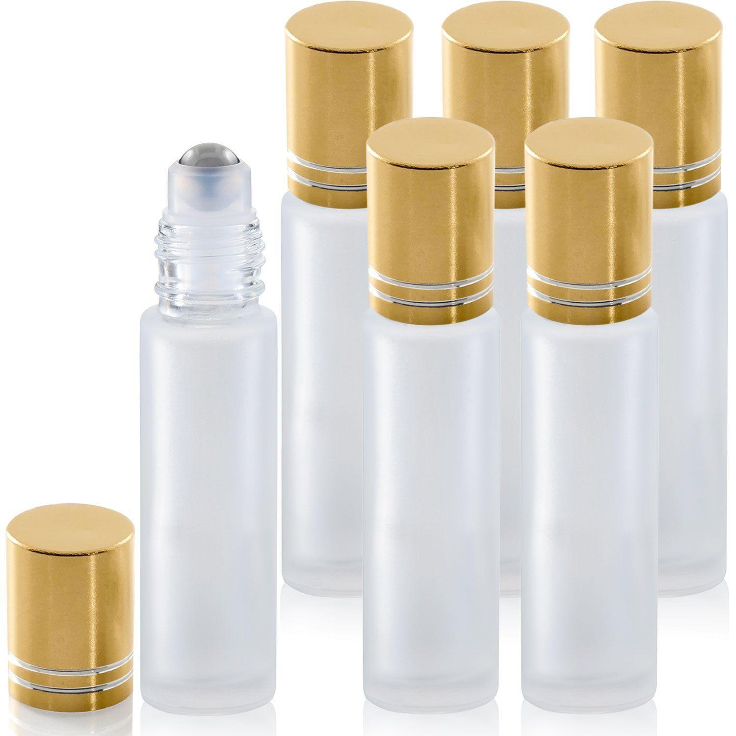 Glass Roller Bottles With Stainless Steel Roller Balls Essential Oil Premium Frosted White Glass Bottles 10ml Metal Balls Roll On Bottles For Aromatherapy Perfu