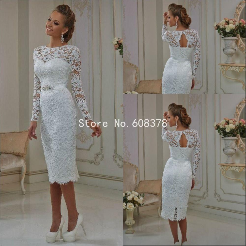 d34c18170ec6d1f Новый элегантный кружева с длинным рукавом короткое свадебное платье совок  образным вырезом белое оболочка свадебные платья