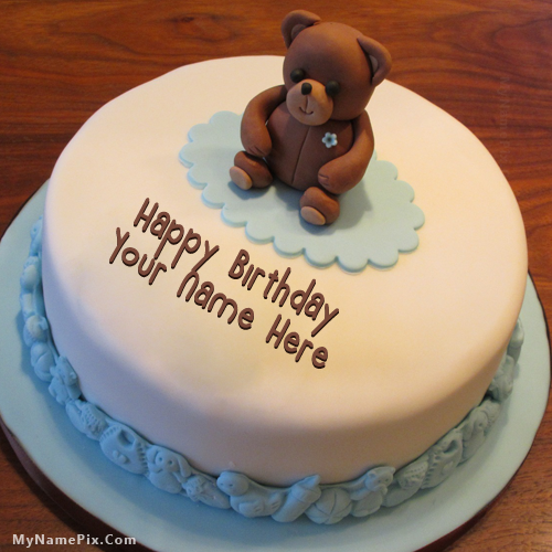 Online write your name on best Teddy Bear Birthday Cake picture in